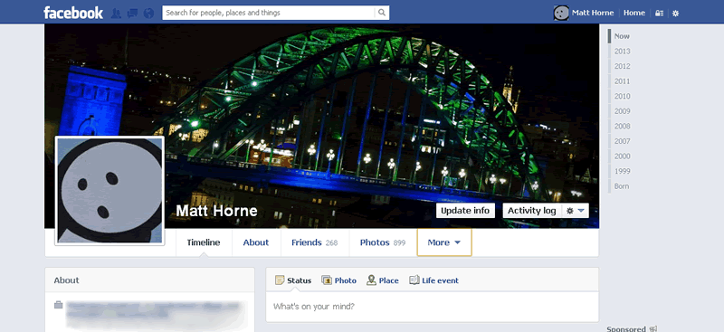 Top of the new Facebook Timeline