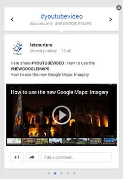 New Google Plus Hashtags window