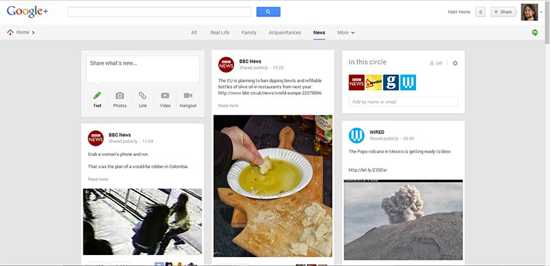 Matt Horne's Google Plus page with no adverts