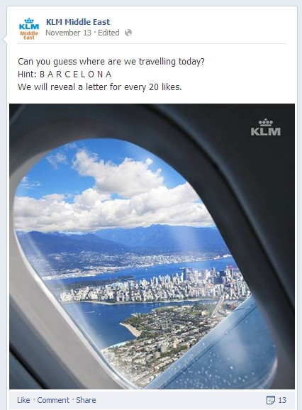 A quiz question from KLM Middle East so easy even This Morning would be embarrassed to post it