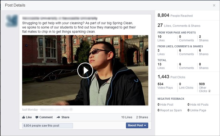 The stats of the Facebook video upload post