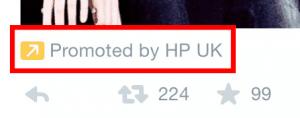 Hewlett-Packard promoted tweet fail