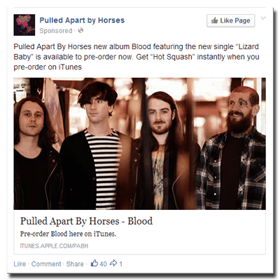 Facebook sponsored post by Pulled Apart By Horses