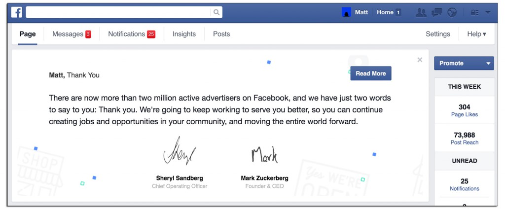 Facebook says thank you for giving us loads of money