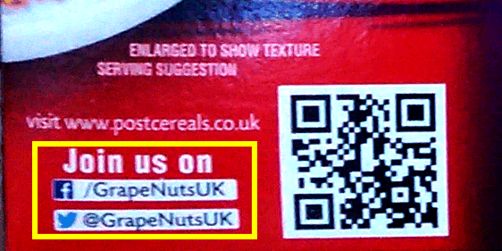 Grape Nuts Cereal Box Social Media details
