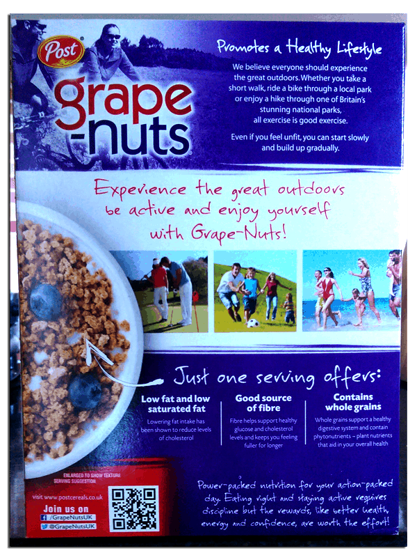 Grape nuts back of the cereal box