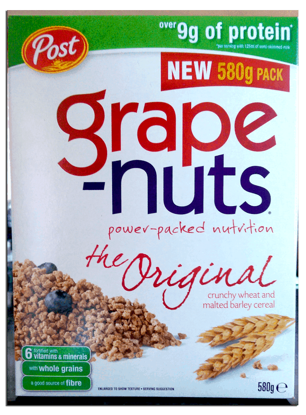 Front of the Grape Nuts cereal box