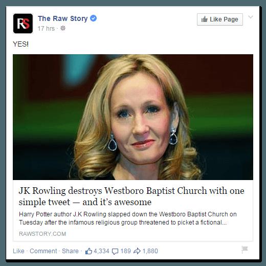 JK Rowling clickbait link on Twitter