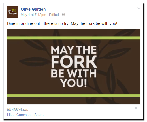 Olive Garden Star Wars real time marketing on Facebook