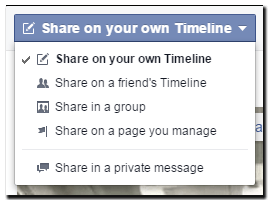 Facebook share post options