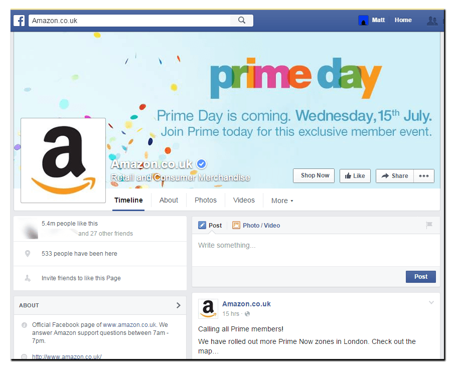 Amazon's desktop facebook cover image advertising Prime Day