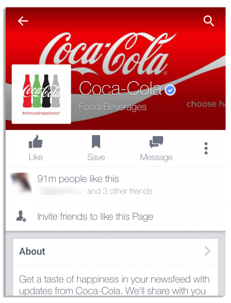 Coca-Cola Facebook page on an android phone