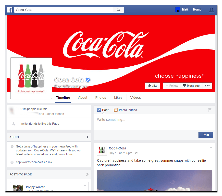Coca-Cola's Facebook desktop cover image