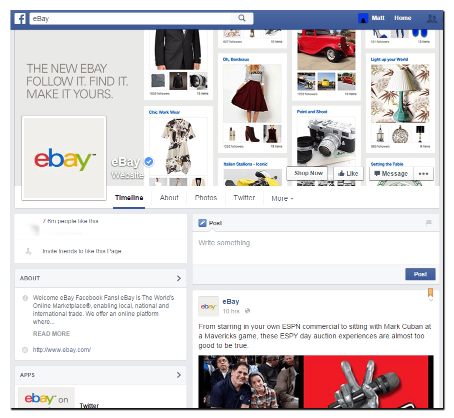 "ebay Desktop facebook cover image saying ""the new ebay follow it, find it make it yours"""