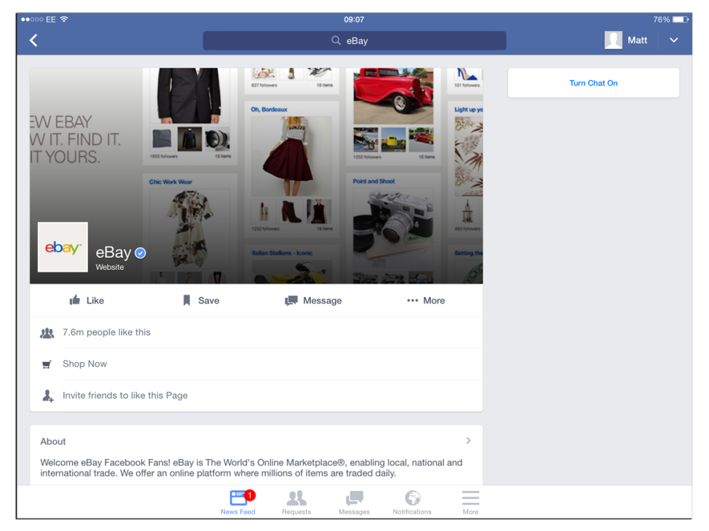 "eBay facebook cover image in ipad saying ""ew ebay"""