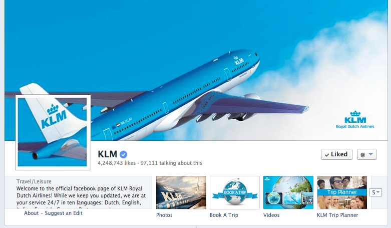 KLM Facebook Cover image 2013