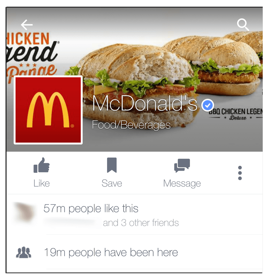 "McDonald's Facebook cover image on a mobile device selling ""icken end"""