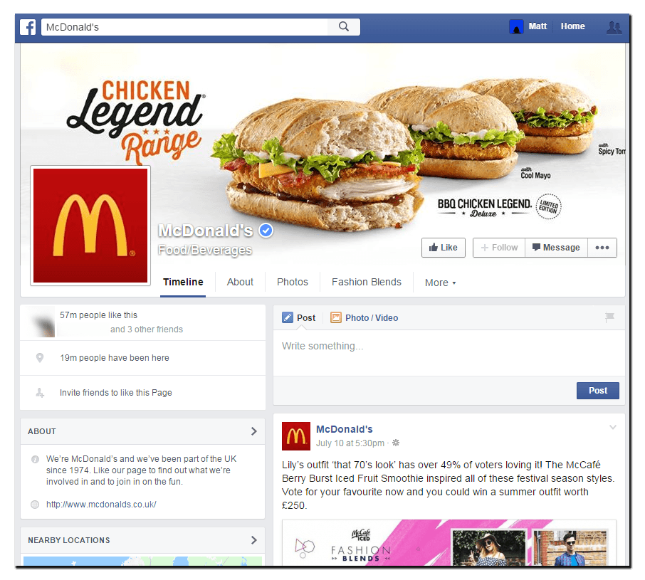 McDonald's Desktop facebook cover image featuring the chicken legend
