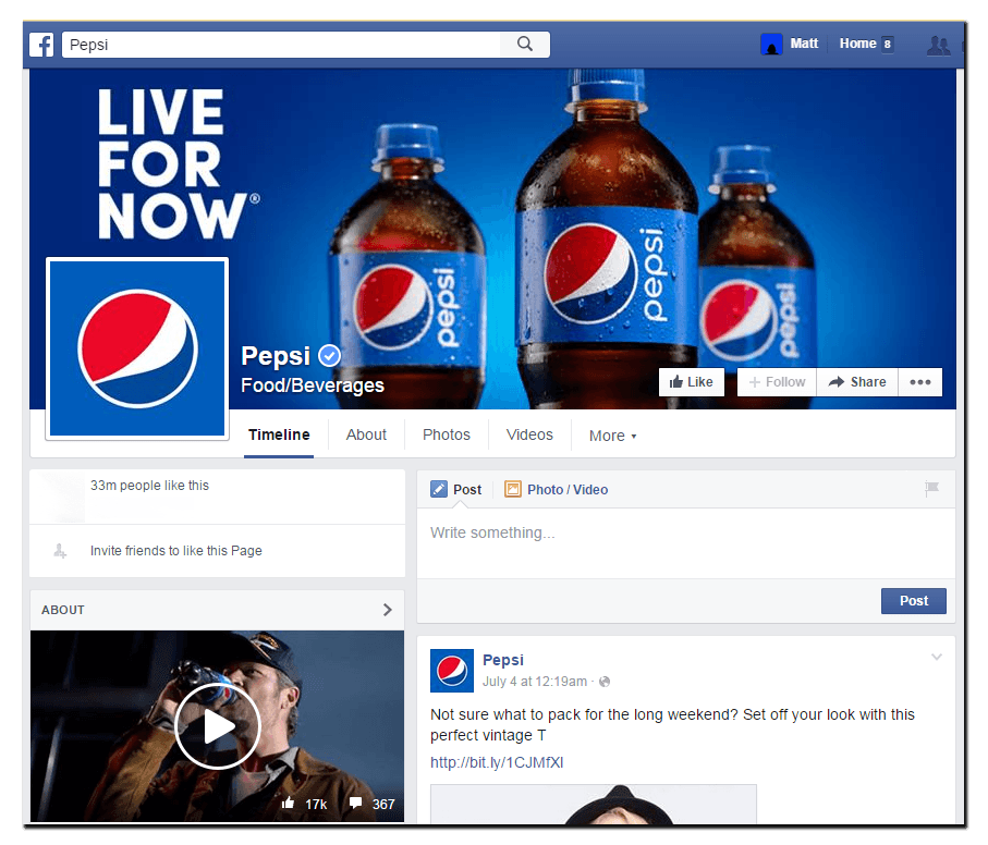 Pepsi's desktop facebook cover image