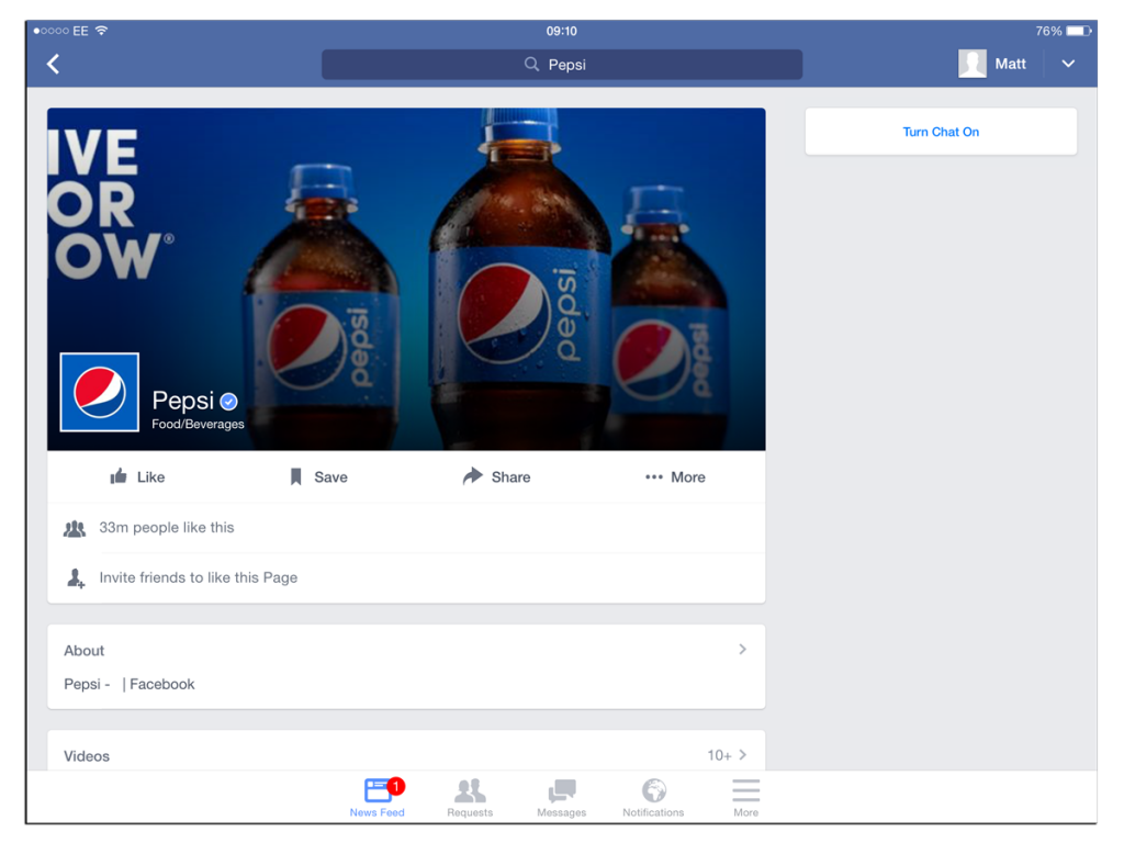 "Pepsi Facebook page on an iPad saying ""ive or ow"""