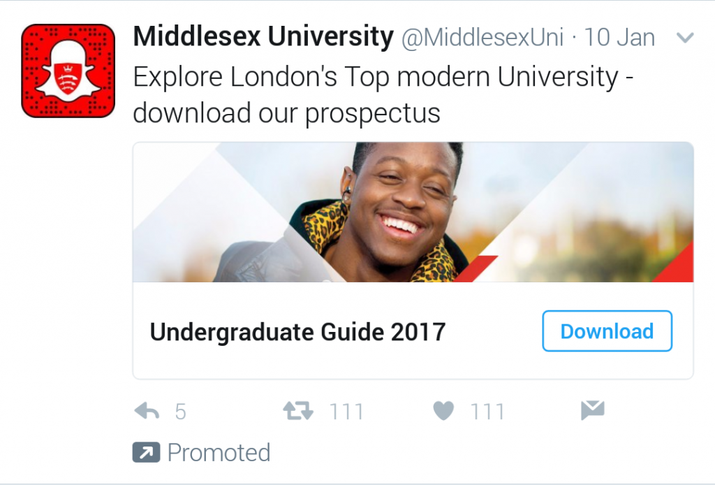 A twitter lead advert for Middlesex University