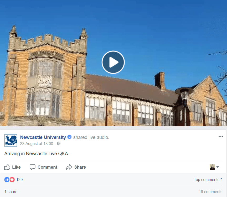 A screenshot of a Facebook live audio post