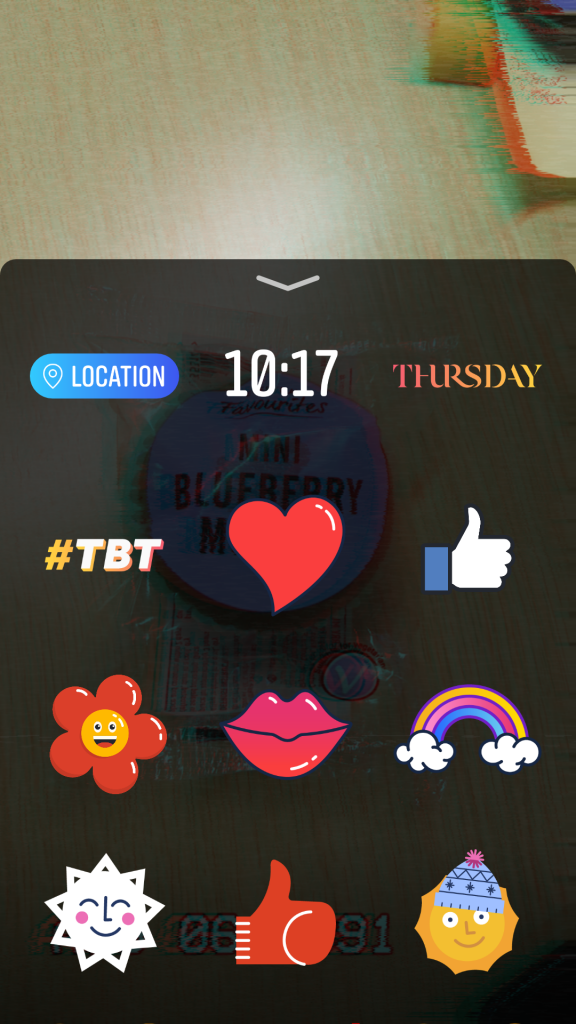 The small selection of stickers available in Facebook Stories