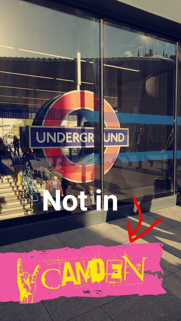 The Camden geofilter on snapchat at an Underground station