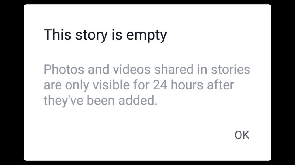 Error message showing a Facebook Story is empty