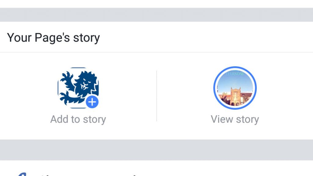 Facebook add to page story button