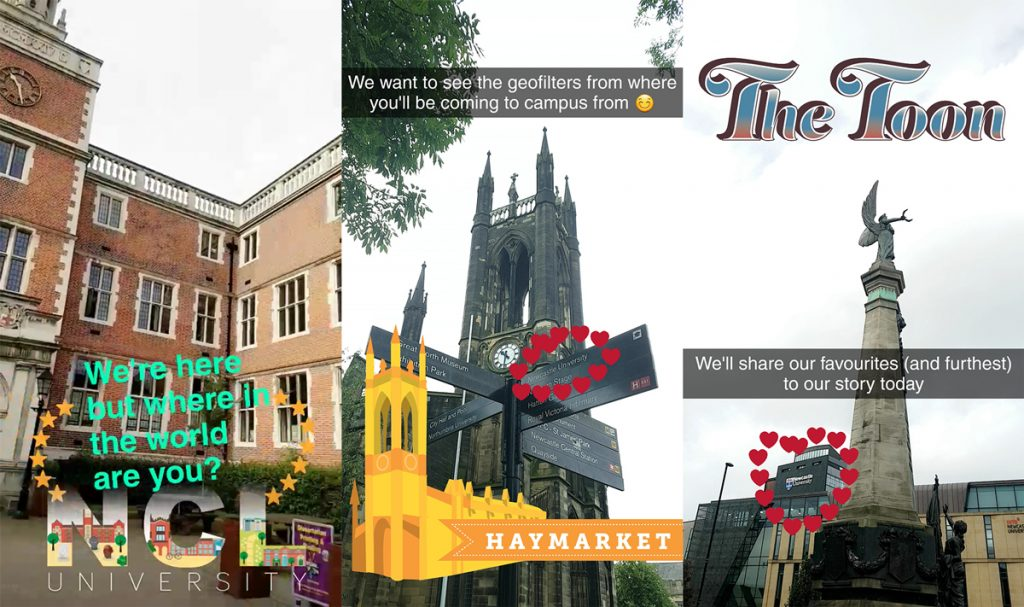 3 snaps from a story requesting people send their snaps from around the world featuring their geofilters