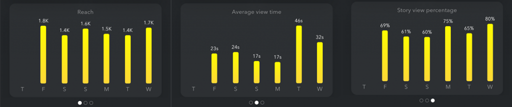 Insights from Snapchat detailing reach, average view time and story view percentage