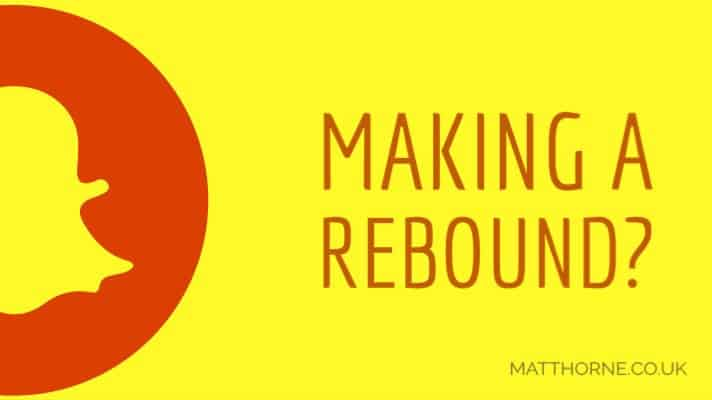 "Snapchat logo and a title ""making a rebound?"""