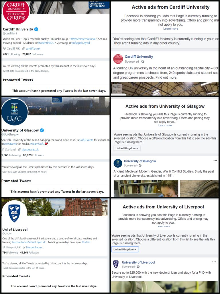 A comparison of Facebook adverts and twitter adverts showing Glasgow, Liverpool and Cardiff universities having adverts on Facebook but not Twitter