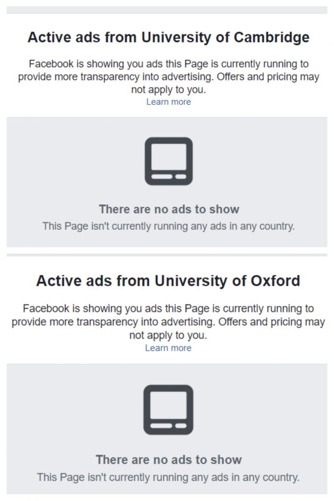 Both oxford and cambridge universities are not running adverts on Facebook
