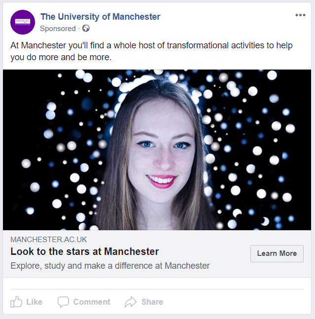 A facebook advert for Manchester University that has a picture of a woman with the headline Look to the stars at Manchester