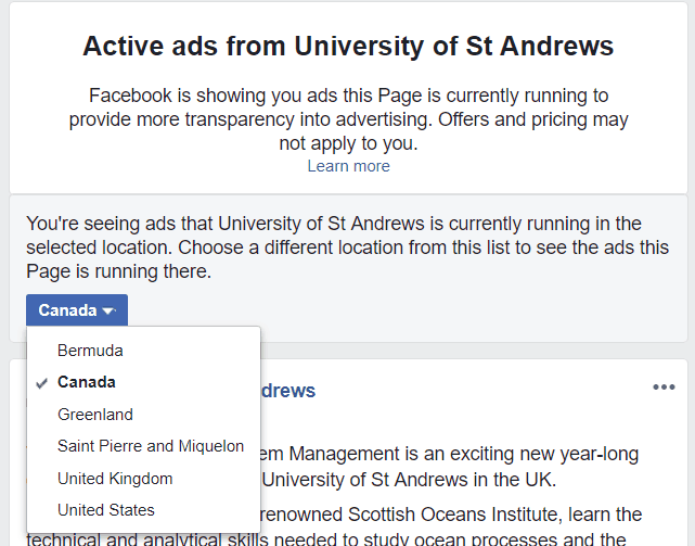 A drop down list showing St Andrews university are targeting ads at Canada, Greenland, United Kingdom and United States among others.