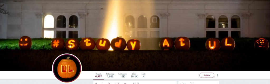 A row of pumpkins carved to say #study at ul