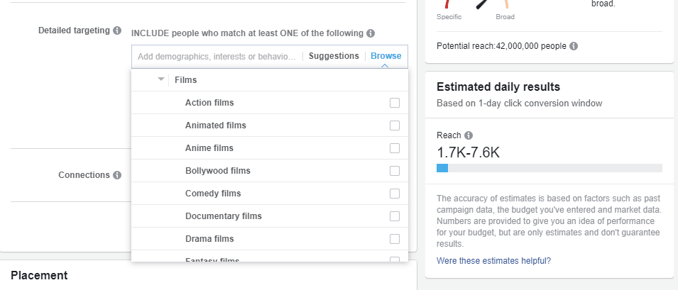 Facebook targeting options showing different film genres