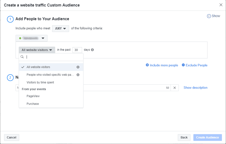 A dialogue screen to create a Facebook custom audience