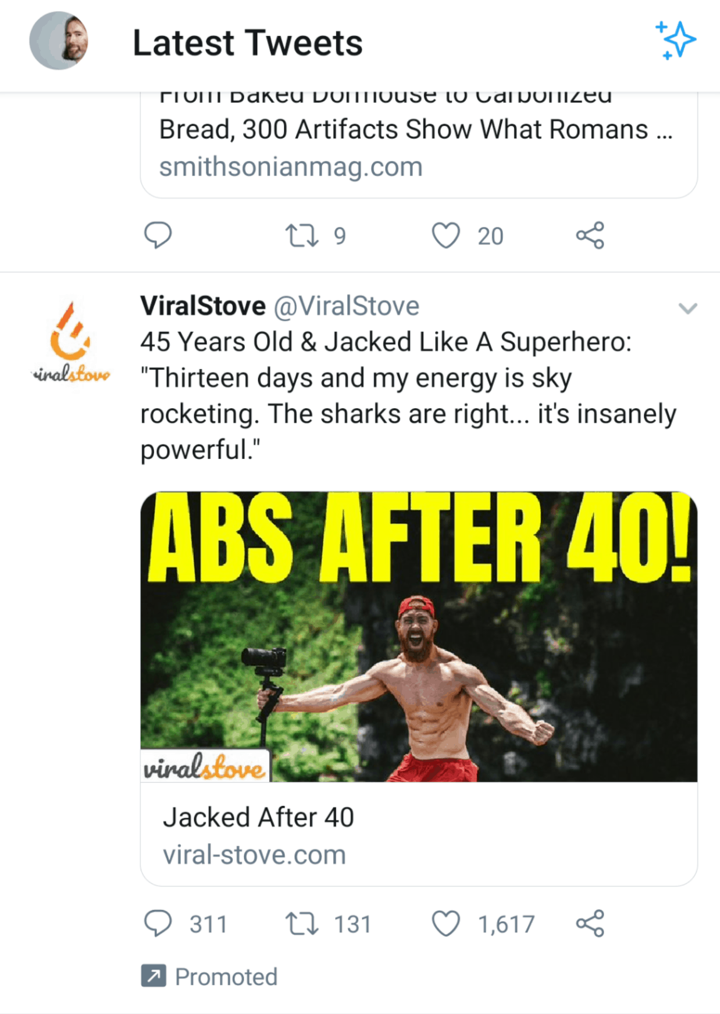 An advert on Twitter from ViralStove that claims to provide Abs after 40! with a topless man holding a camera.