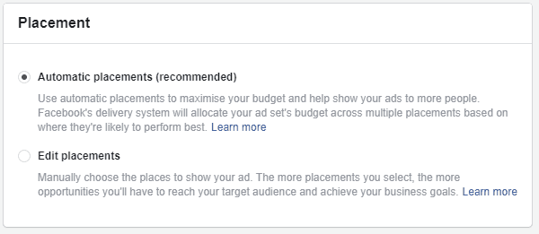 The placements options on Facebooks advertising platform.